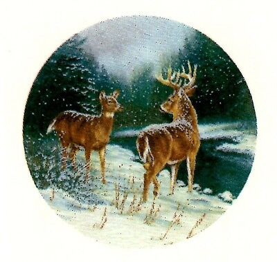 "Deer Winter Snow River 4 pcs 2"" Waterslide Ceramic Decals Xx"
