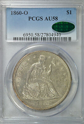1860 O Seated dollar, PCGS AU58 CAC
