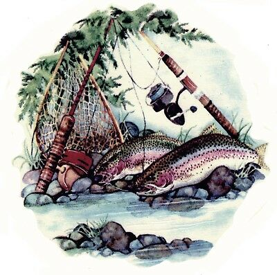 Rainbow Trout Fishing Pole River Select-A-Size Waterslide Ceramic Decals Xx