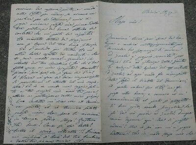 1859 Letter D'love Actress Clementine Carter From Rimini To Tommaso Salvini
