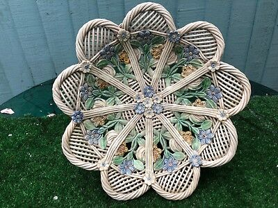 SUPERB 19thC WHIELDON STYLE DECORATIVE BASKET WITH FLOWERS & OTHER c1880s
