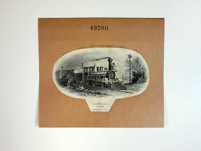 ABNC Archives c.1880s PROOF Vignette Train Locomotive on India Paper & Card XF