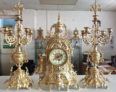 Antique 19th c French Solid Gilt Pierced Bronze 8 day Mantle Clock Garniture Set