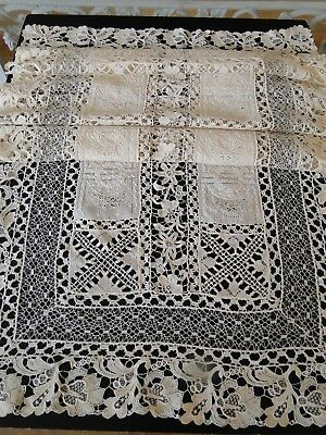 Antique Lace- Fine Handmade Lace Table Runner W/whitework,gros Point