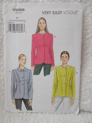 Vogue V9068 Ladies Sewing Pattern Very Easy Jackets Sizes 16-24 Uncut