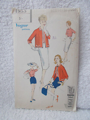 Vintage Vogue 4953 Ladies Sewing Pattern Skirt Shorts Jacket Blouse Size 14 34""