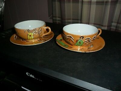 Antique Porcelain Geisha Girl Cups & Saucers Oriental Lusterware Rare Estate