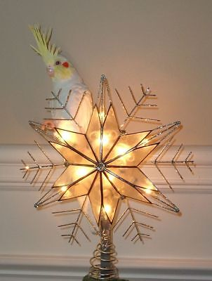 Lutino Cockatiel Christmas Tree Topper & Candy Swing