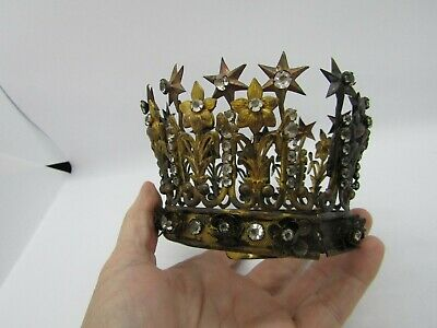 Large Antique FRENCH CROWN /SAINTS, jeweled, 19th century