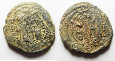 ZURQIEH -as8245- BYZANTINE EMPIRE. CONSTANS II OVER STRUCK ON A JUSTINIAN I BRON