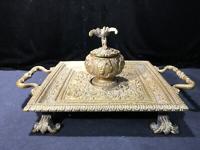 Antique Victorian French Footed Brass Inkwell Desk Tray Gryphon Embossed Chased