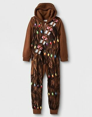 Star Wars Chewbacca Pajamas Boys Size 8-10-12 One Piece Blanket Sleeper Holiday