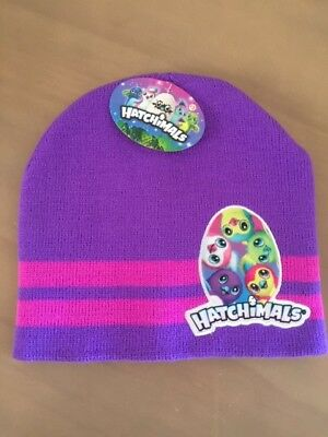 YOUTH ONE SIZE HATCHIMALS PURPLE STRIPED KNIT BEANIE HAT NEW #11438