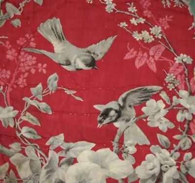 NEW STOCK, BEAUTIFUL MID 19th CENTURY FRENCH QUILTED TOILE DE JOY, BIRDS 50.