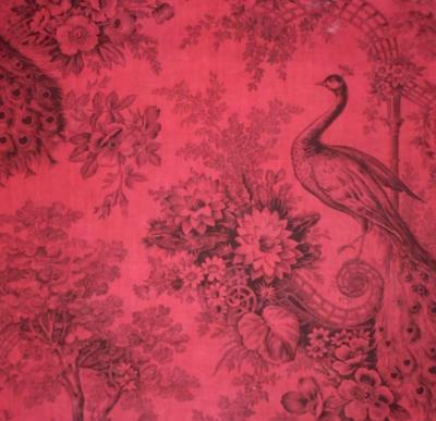 NEW STOCK BEAUTIFUL MID 19th CENTURY FRENCH ROCOCO TOILE DE JOUY, PEACOCK 51.