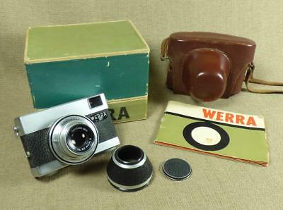 "CARL ZEISS JENA ""WERRA 1"" 35mm CAMERA - Tessar Lens - Leather Case, Manual & Box"