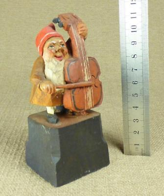 ANRI GNOME MUSICIAN: DOUBLE BASS PLAYER - Carved Wooden Figurine ZWERG