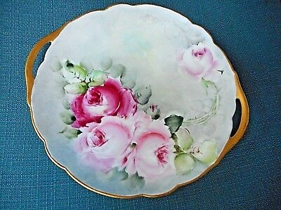 Hand Painted & Signed Limoges Rose Plate