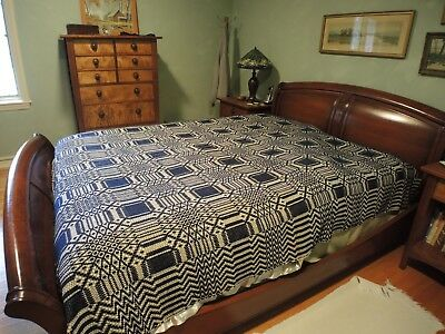 """Mid-1800s Navy and Cream Reversible Wool Coverlet For a Queen Bed 48"""" x 60"""""""