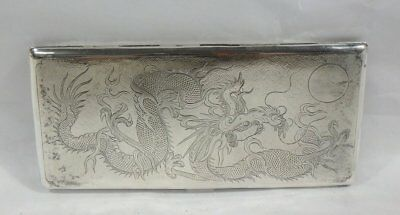 SIGNED 19th Century Chinese Antique Export Etched Dragon Silver Cigarette Case