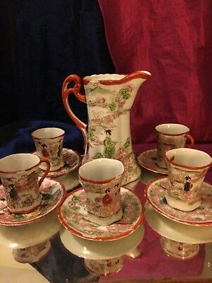 Kutani chocolate Japanese Geisha 13pc vintage tea set