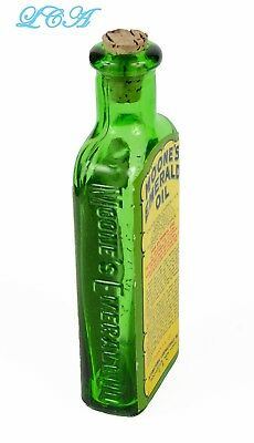 Exquisite EMERALD green MOONE'S EMERALD OIL quack med Rochester N.Y. w/ LABELS