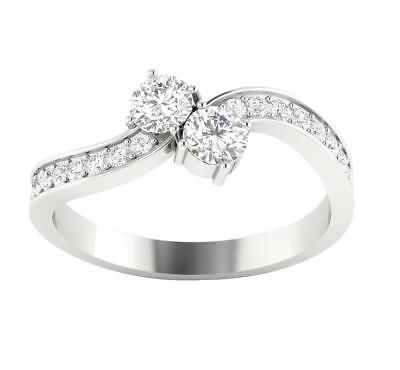 Forever Us 2 Stone Solitaire Ring SI1 G 0.82 Ct Natural Diamond 14K White Gold