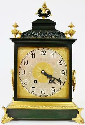 Rare Antique French 14 Day Duration 2 Tone Bronze & Ormolu Mantel/Bracket Clock