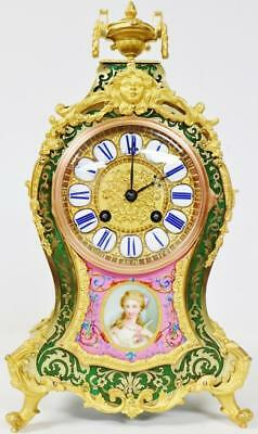 Rare Antique French 8 Day Green Shell & Pink Sevres Inlaid Boulle Bracket Clock