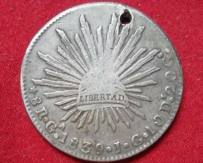 Mexico 8 reales 1839 Ga JG moderately circulated, holed - scarce date & mintmark