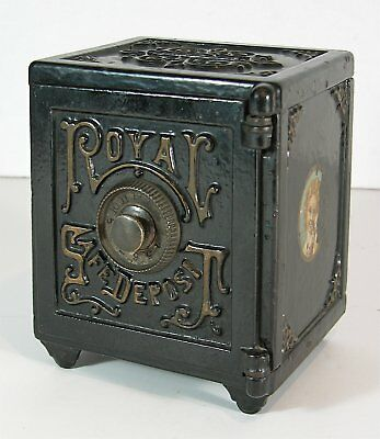 1890 LARGE CAST IRON  FLOOR SAFE FIGURAL STILL BANK - ROYAL SAFE DEPOSIT By HART