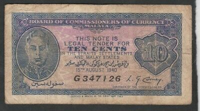 10 Cents From Malaya 1940