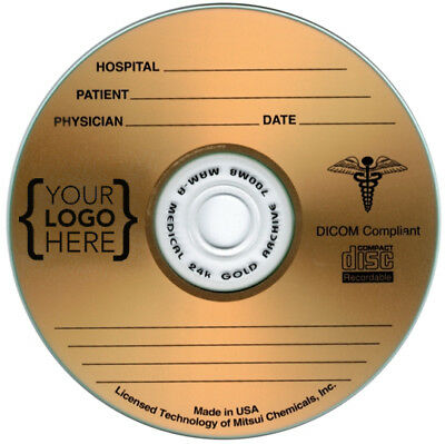 100-Pak CUSTOM PRINTED LOGO on MAM-A MEDICAL GRADE GOLD Archival 80-Min CD-R's!