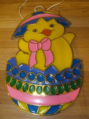 Vintage Easter Plastic Sun Catcher Chick and Egg