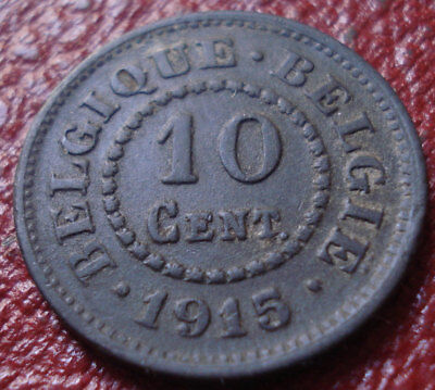 1915 Belgium 10 Centimes In Vf Condition