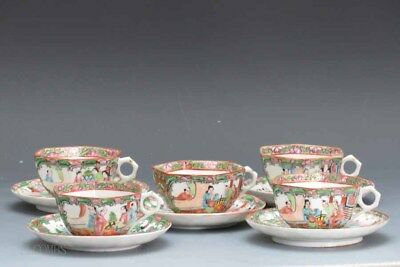 19th.c Chinese Rose Medallion Set Of 5 Saucers and 5 Tea Cups #1