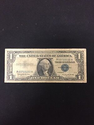 1957-B United States $1 Silver Certificate Fancy 5 Of A Kind Note D4I8