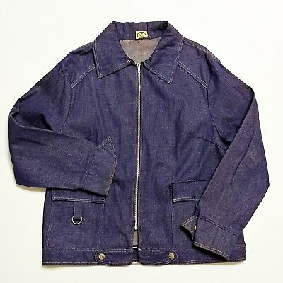 1950s Anvil Brand Denim Jean Jacket Vintage Vtg USA Made 40s Work Wear Indigo