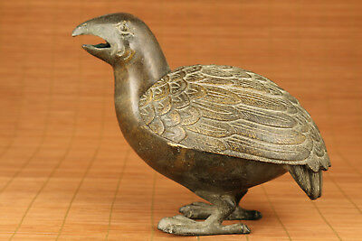 Rare Big Chinese Old Bronze Handmade Carved Quail Statue Figure