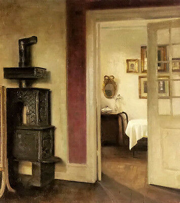 Oil carl vilhelm holsoe - an interior with a stove and a view into a dining room
