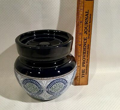 Antique Cobalt Stoneware Pottery Humidor - Nice