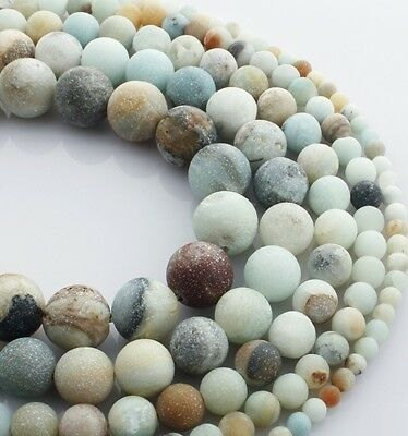 For Bracelet Jewelry DIY Lot Natural Frosted Amazon Stone Loose Beads 4 6 8 10mm