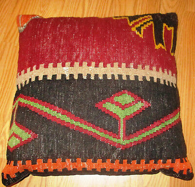 "Old Kilim Turkish Geometric 100% Wool Pillow  15"" by 15"""