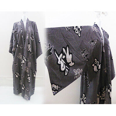 Vintage Kimono Robe Size L Cotton Indigo Calligraphy Japanese Boho Ethnic Asian