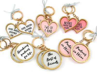 Pair of Friends Keyrings with Assorted Sentiments - Cracker Filler Gift