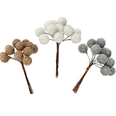 12 Wired Glittered Berries for Christmas Wreaths & Floristry