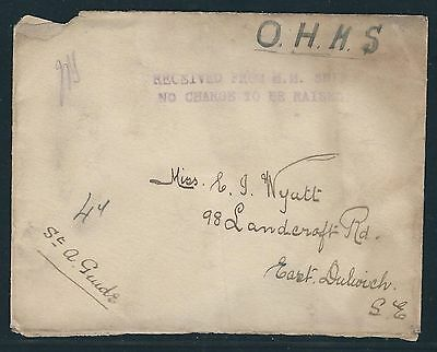 "WWII OHMS Cover – ""RECEIVED FROM H.M. SHIP NO CHARGE TO BE RAISED"""