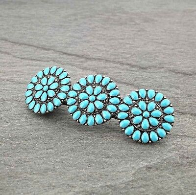 Western Cowgirl Large Concho Turquoise Silver Fashion French Clip Hair Barrette