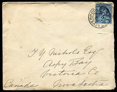 GREAT BRITAIN COVER  114  Victoria Liverpool  To  Nova  Scotia 1894 UPTOWN 46043