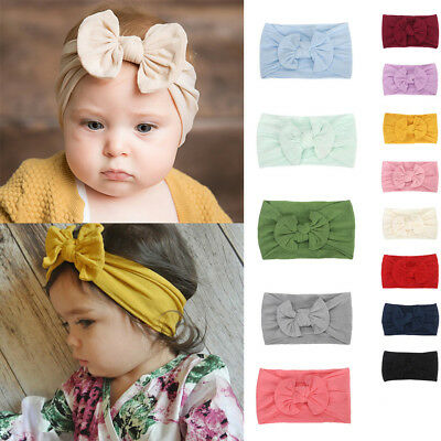 Cute Baby Girls Toddler Infant Bowknot Casual Solid Headband Hairband Headwear